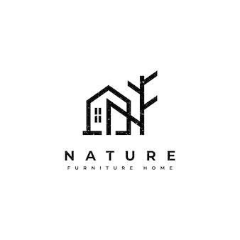 Design de logotipo para casa de móveis da natureza