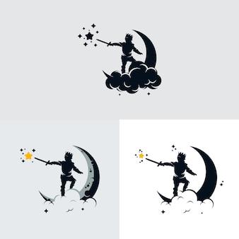 Design de logotipo para crianças sonhando na lua