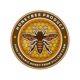 Design de logotipo para produtos de mel ou fazendas de abelhas