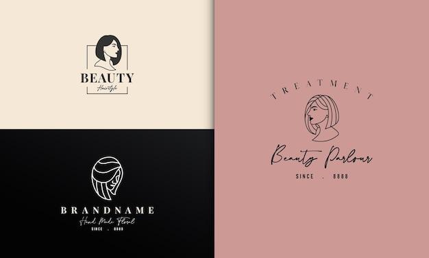 Design de logotipo para senhora da beleza com cabelo curto e bonito