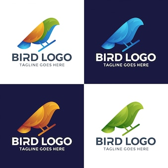 Design de logotipo pássaro 3d com cor de opção.