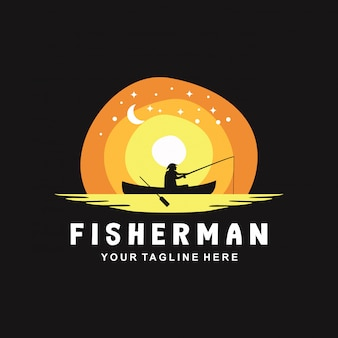 Design de logotipo pescador com estilo simples