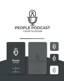 Design de logotipo pessoas podcast ou microfone de pessoas