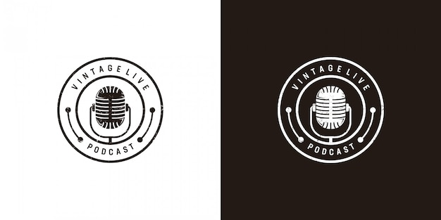 Design de logotipo podcast em vintage