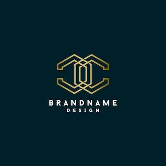 Design de logotipo poligonal de letra c monograma