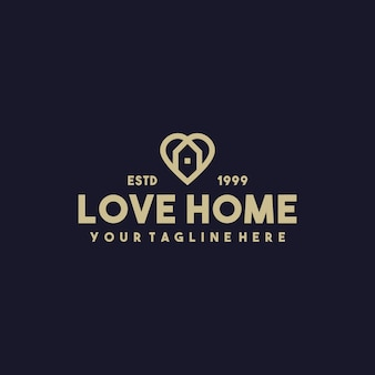 Design de logotipo premium criativo de amor doméstico