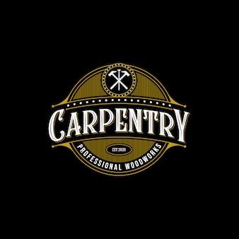 Design de logotipo premium de carpintaria madeira vintage, artesão letras na ilustração de fundo escuro