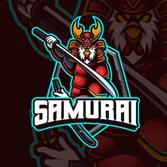 Design de logotipo premium do mascote do frango samurai esport gaming