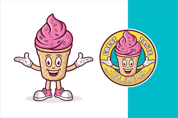 Design de logotipo premium do mascote do sorvete