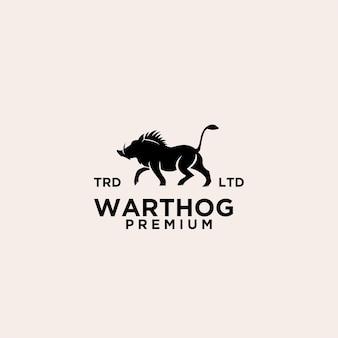 Design de logotipo preto de vetor de warthog premium