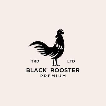 Design de logotipo preto premium rooster
