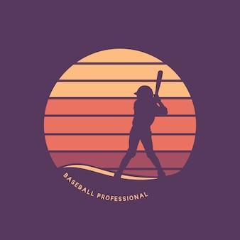 Design de logotipo profissional de beisebol com ilustração plana da posição de preparação do rebatimento