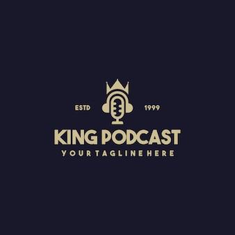 Design de logotipo profissional de podcast rei