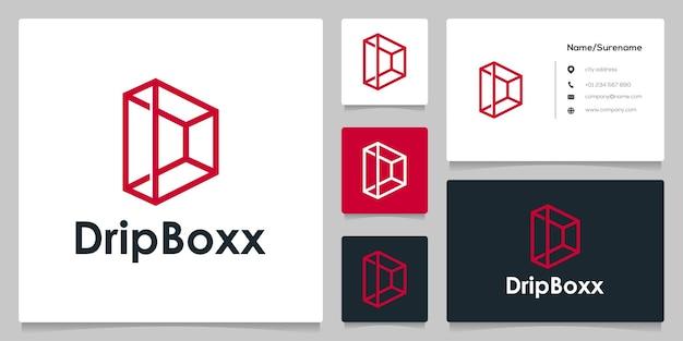 Design de logotipo quadrado de caixa de contorno de linha abstrata letra d com cartão de visita