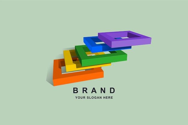 Design de logotipo quadrado ou escada de construção 3d