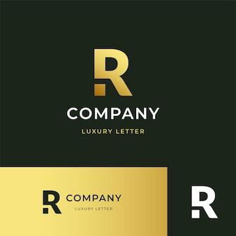 Design de logotipo r com letra de luxo premium