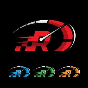 Design de logotipo r letter design de logotipo de velocidade rpm para automóveis