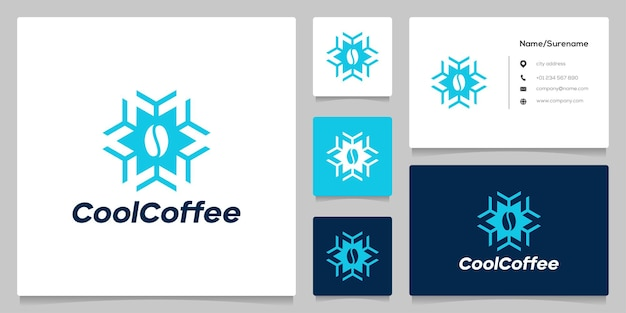 Design de logotipo refrigerado a café congelado com cartão de visita
