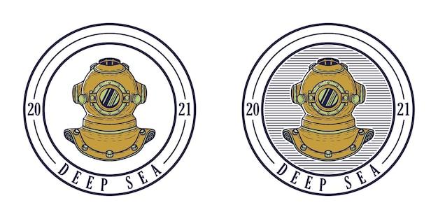 Design de logotipo retro do mar profundo com ilustração de capacete de mergulho