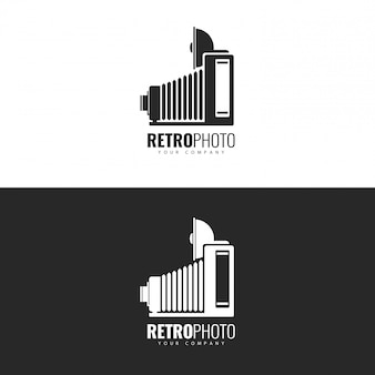 Design de logotipo retro photo studio.
