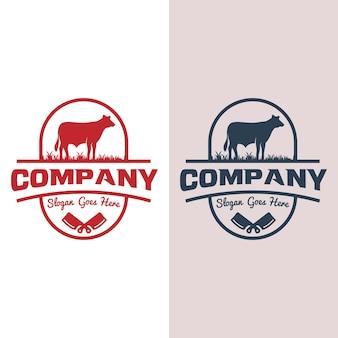 Design de logotipo retrô vintage bovino angus beef emblem livestock