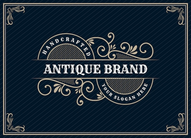 Design de logotipo retrô vintage de luxo de herança desenhada à mão com moldura decorativa para texto e fonte vitrine premium
