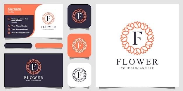 Design de logotipo rosa floral elegante minimalista para beleza, cosméticos, yoga e spa. design de logotipo e cartão de visita