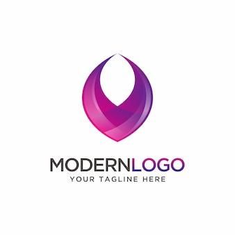 Design de logotipo roxo moderno abstrato