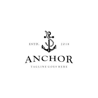 Design de logotipo rústico de símbolo de âncora de navio vintage