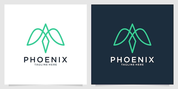 Design de logotipo simples de arte de linha elegante phoenix