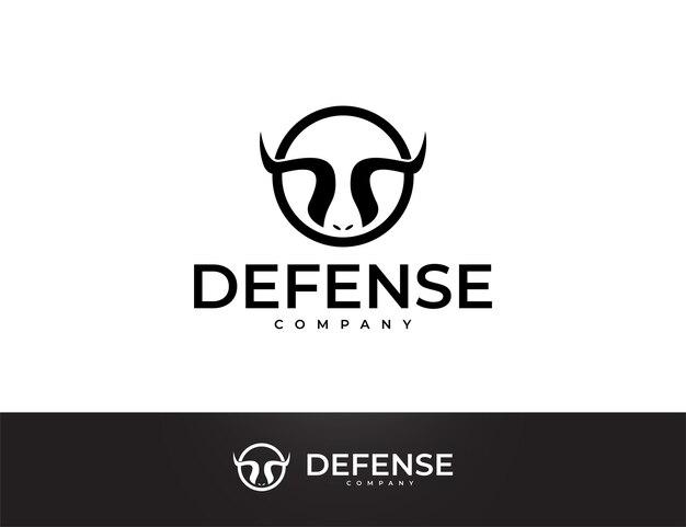 Design de logotipo simples de chifre de touro preto