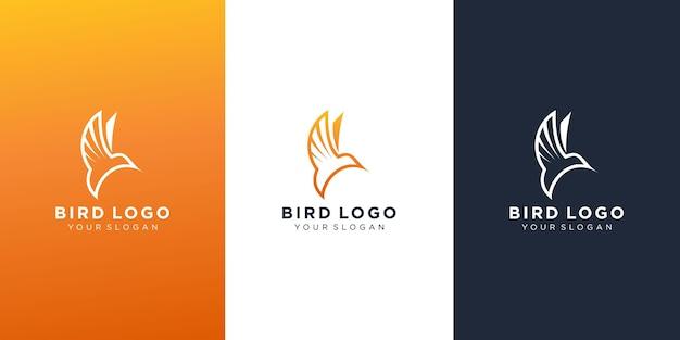Design de logotipo simples de pássaro voador