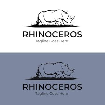 Design de logotipo simples de rinoceronte