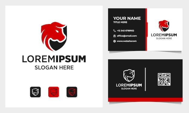 Design de logotipo simples de touro e escudo com modelo de cartão de visita