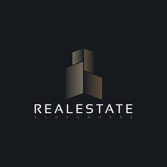 Design de logotipo simples e minimalista de edifício imobiliário