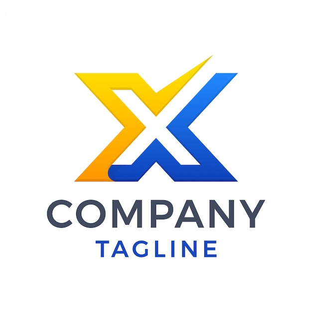 Design de logotipo simples e negrito moderno com letra x marca de seleção
