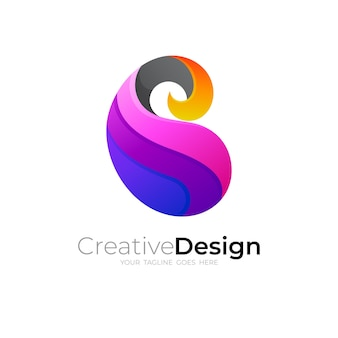 Design de logotipo simples letra b, 3d colorido