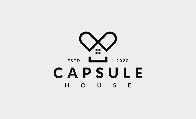 Design de logotipo simples para casa da cápsula