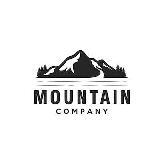 Design de logotipo simples silhouette mountain creek river mount peak hill landscape