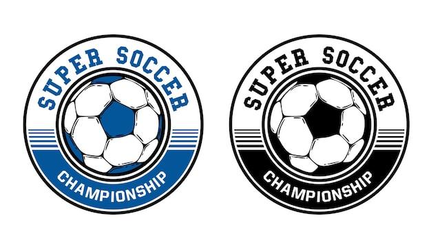 Design de logotipo super campeonato de futebol com ilustração vintage de futebol