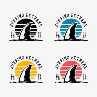 Design de logotipo surf extrema est 1985 com ilustração vintage de barbatanas de tubarão