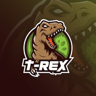 Design de logotipo t-rexmascot com estilo moderno conceito de ilustração para impressão de distintivo, emblema e camiseta.