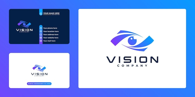 Design de logotipo técnico da creative vision e cartão de visita