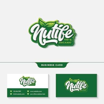 Design de logotipo tipografia vida de nutrição com cartão de visita templat