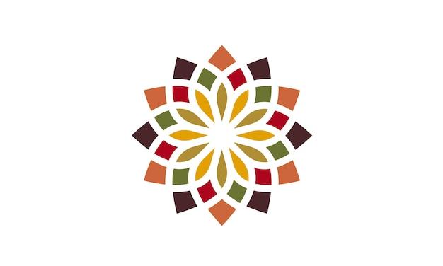 Design de logotipo tradicional colorido floral padrão asiático