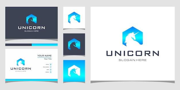 Design de logotipo unicorn com cartão de visita premium