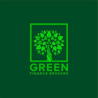 Design de logotipo verde finanças com árvores