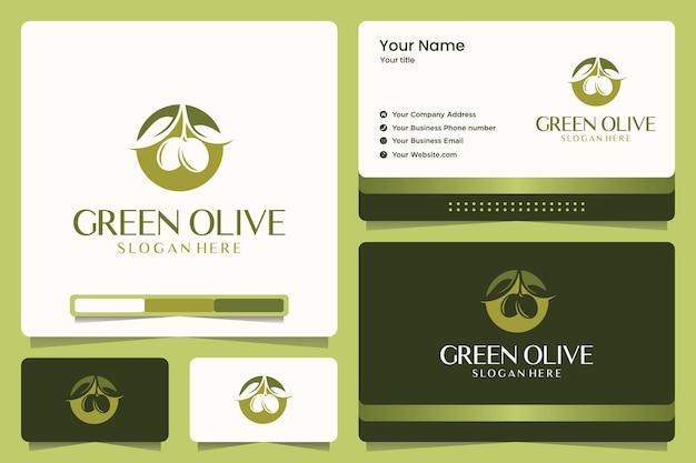 Design de logotipo verde oliva e cartão de visita
