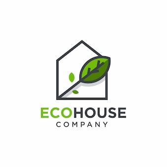 Design de logotipo verde para casa