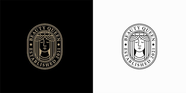 Design de logotipo vintage beauty face line